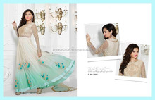 MADHUBALA OFF WHITE GEORGETTE ON NET ANARKALI SUIT