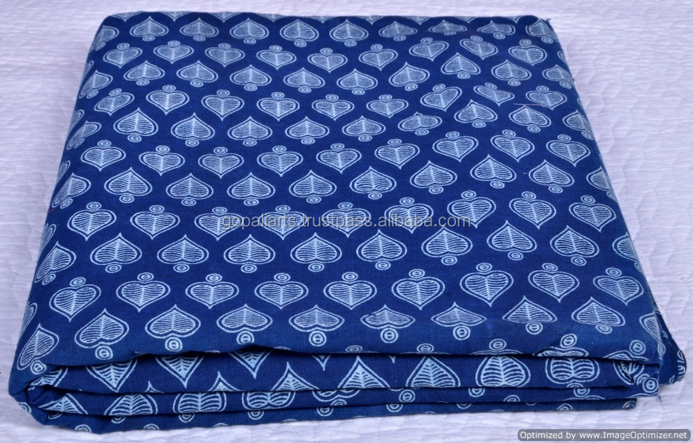Jaipur Hand Block Printed Fabric Sanganeri Print 100% Cotton Handmade Heart Printed Fabric