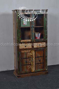 Reclaimed Wood Multi Shelves With Glass Door Kitchen Cabinet