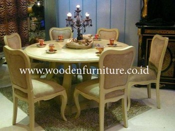 Antique Dining Set Italian Furniture French Home Furniture Round Dining Table Painted Dining Chair European Style Home Furniture