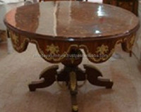 antique french marquetry top center entrance table