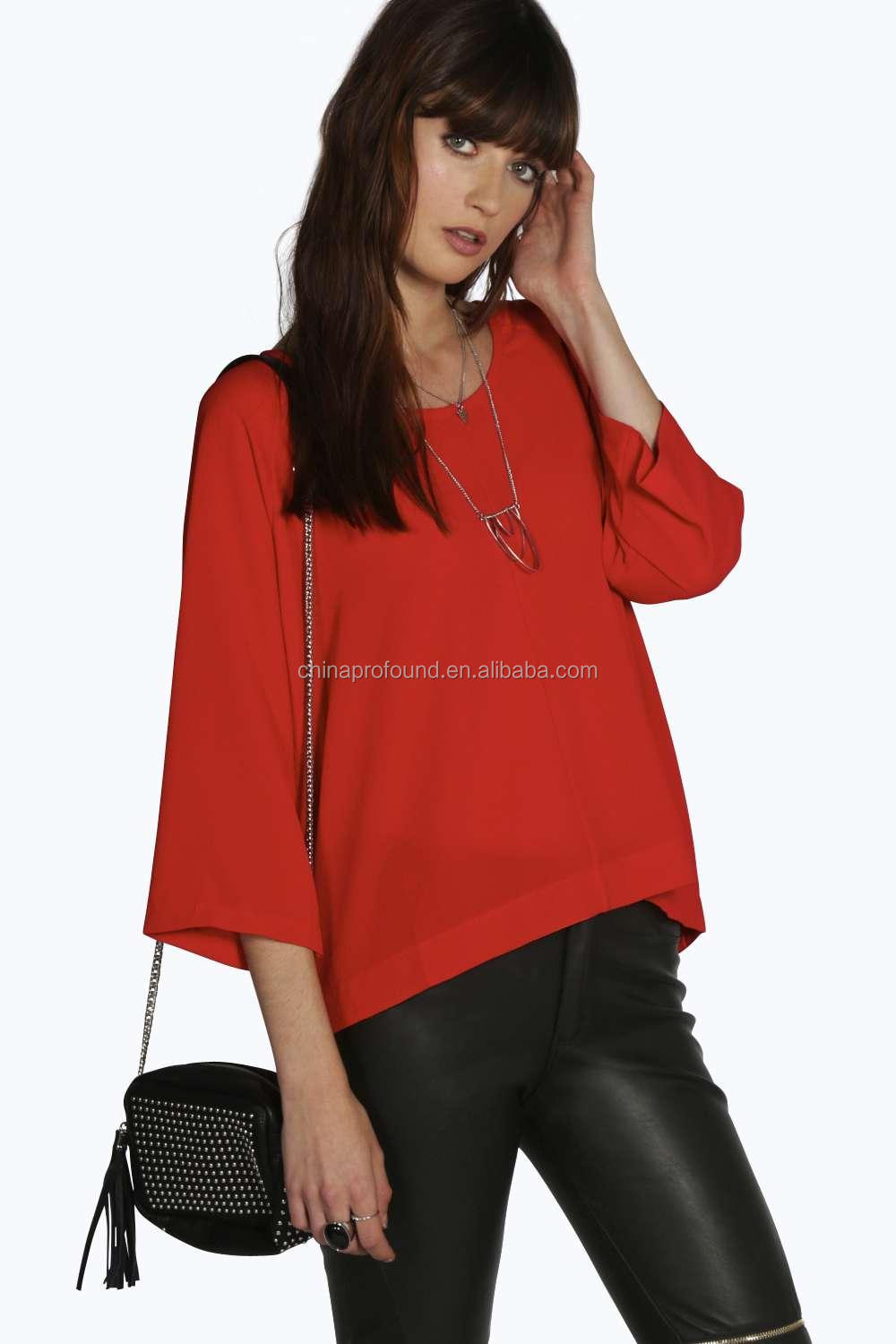 2015 Chiffon women no button down shirts/zipper blouse shirts pattern/red chiffon shirts pattern