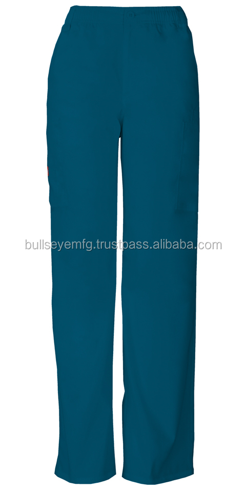 Men's Zip Fly Pull-On scrub Pant in Caribbean Blue