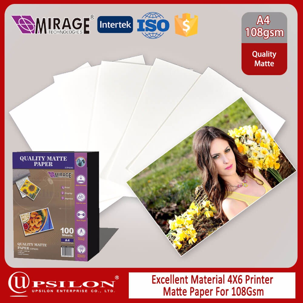 Excellent Material 4X6 Printer Matte Paper For 108Gsm