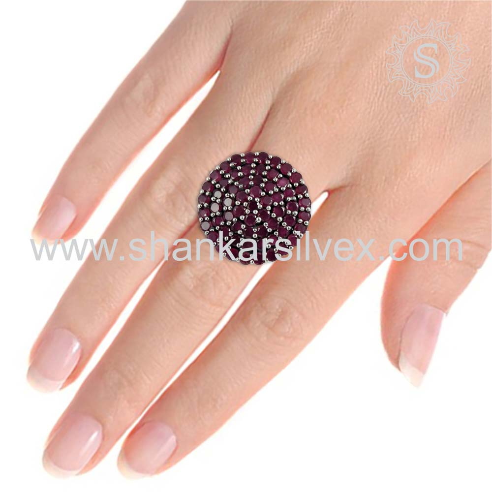 Brighten PINK RUBY Ring 925 Sterling Silver Jewelry Ring Wholesaler Indian Silver Jewelry Manufacture