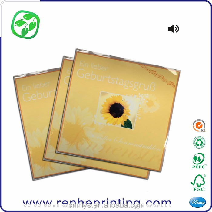 flower printing Europe music card handmade, gift musical anniversary cards
