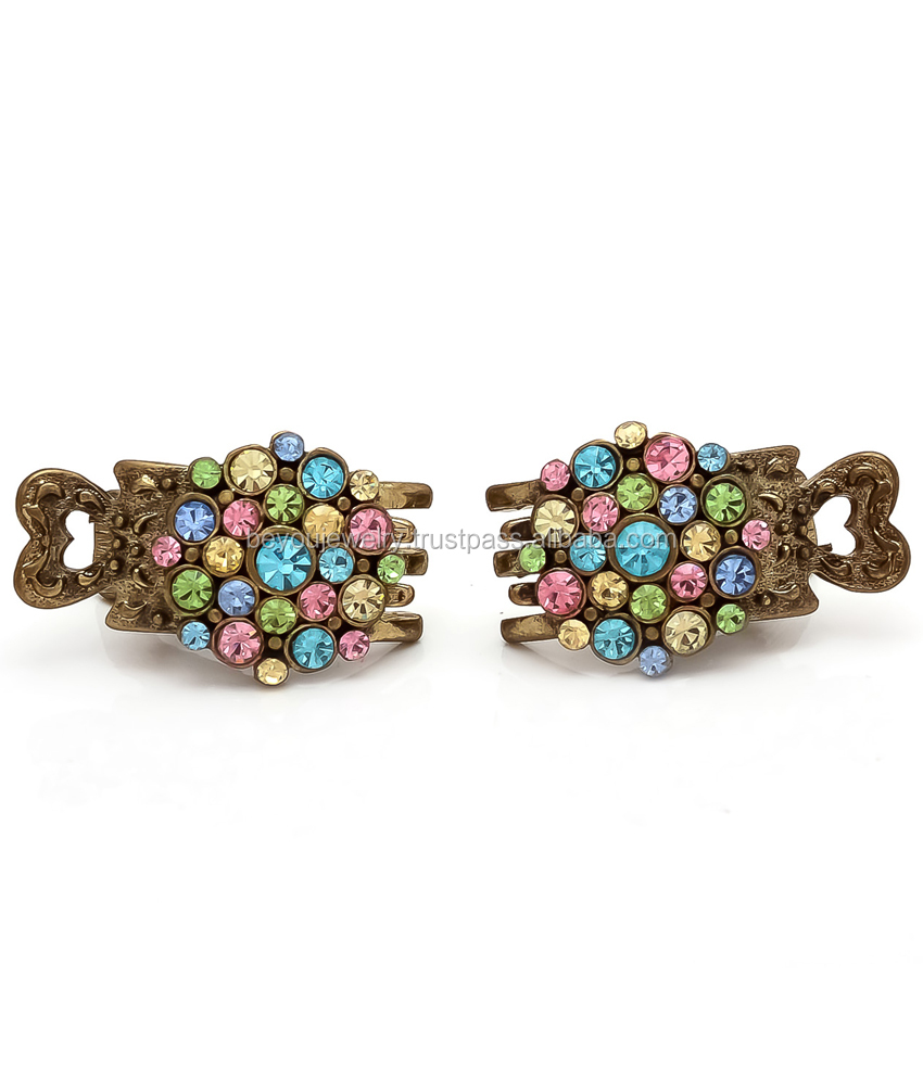 Be You Multi Colour Stones Work Hair Side-Pin Clips