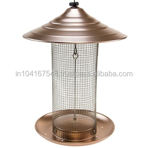 COPPER ANTIQUE LOOKING BIRD FEEDER,LUXURY DESIGN BIRD FEEDER WITH METAL TRAY AND HANGER