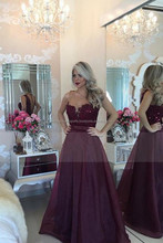 2016 Burgundy/Maroon Prom Dresses Scoop A Line With Sash And Applique