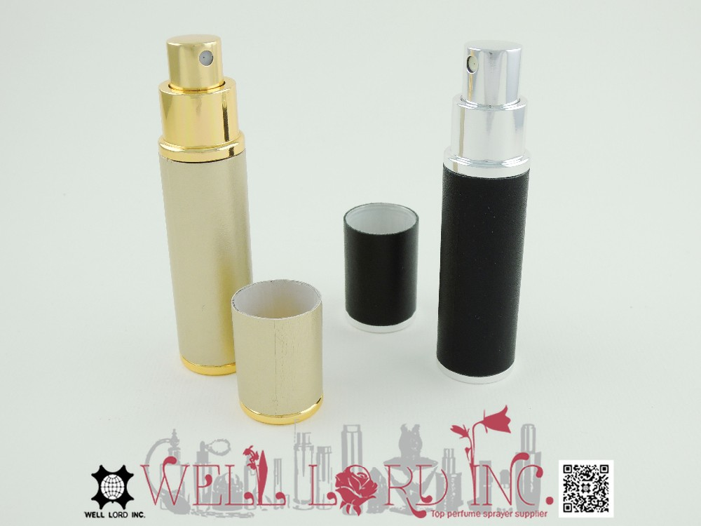 Graceful black leather wrapped 12ml refillable purse atomizer