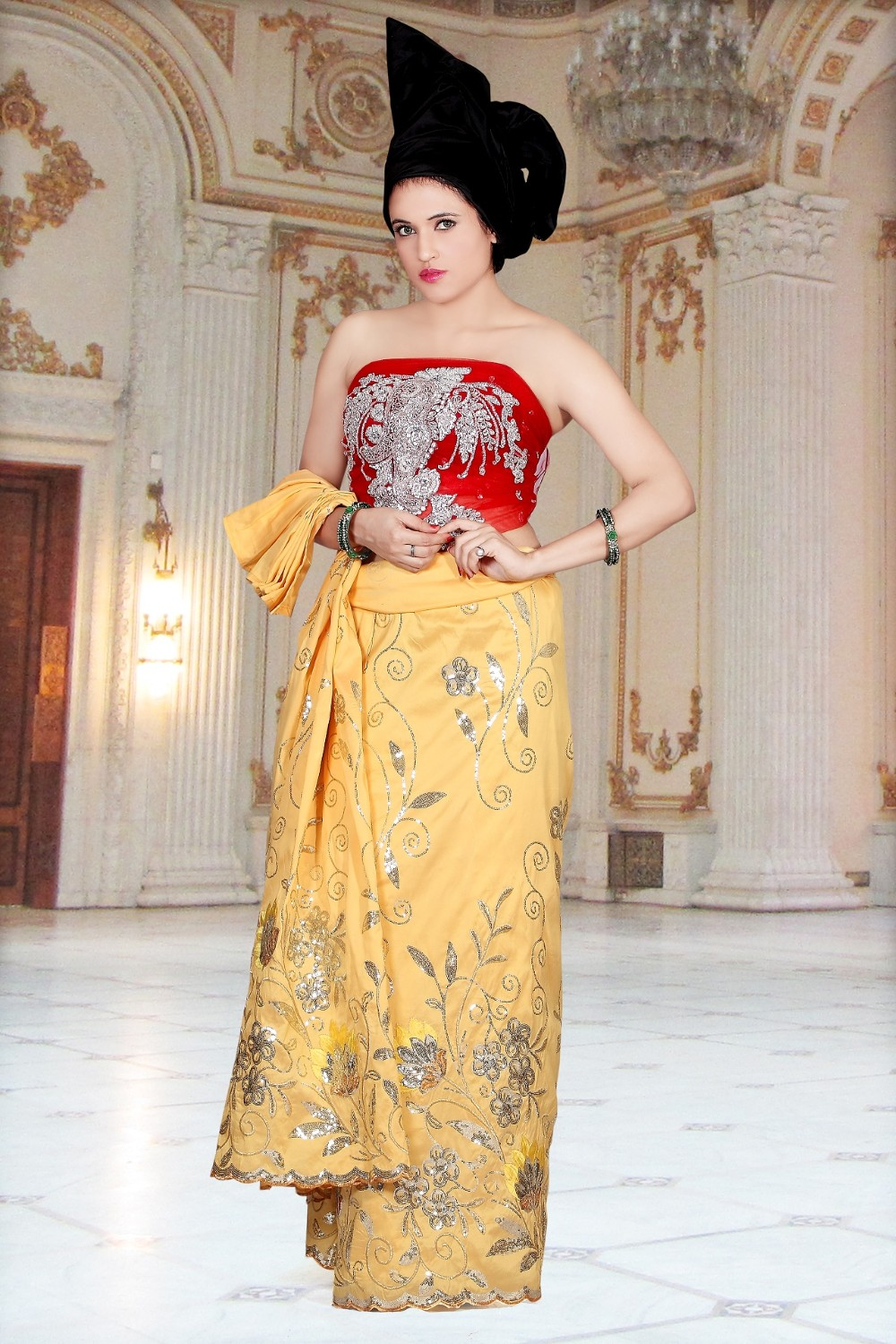 Gk043 4 yellow african raw silk george wrappers george for Georges chakra gold wedding dress price