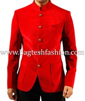 Stylish Mens Red Velvet Coat