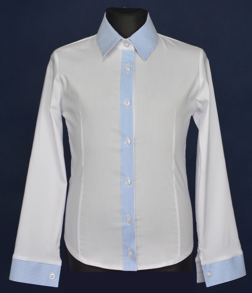 Long sleeve blue and white elegant shirt