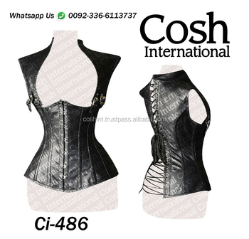 COSH INTERNATIONAL : Black Leather Gothic Corset Supplier