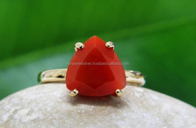 Prong Set Trillion Red Onyx Ring For Women