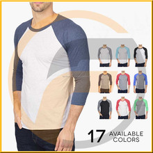 Three quarter length sleeve round neck cotton/polyester raglan baseball t shirts style for women