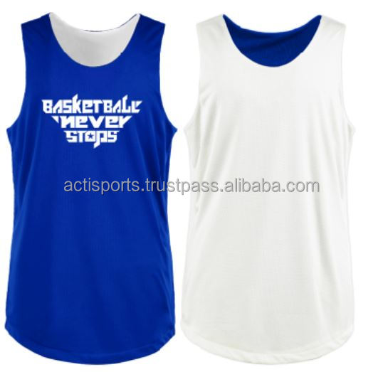Latest Hot Selling Design Basketball Reversible Mesh Jerseys