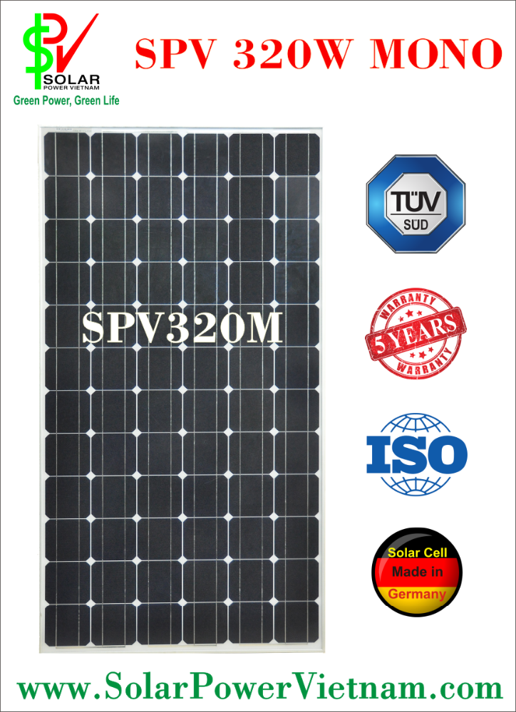 SPV 320w Monocrystalline Solar Panel with tempered glass for off-grid solar system certificated by ISO