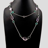 Exclusive Style !! Green Onyx_Amethyst 925 Sterling Silver Necklace, Wholesale Jewelry On Factory Price, Silver Jewelry India
