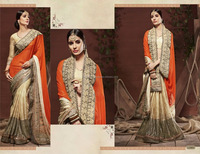 Indian Wholesale Jari And Thread Embroidered Georgette Cheap Sarees