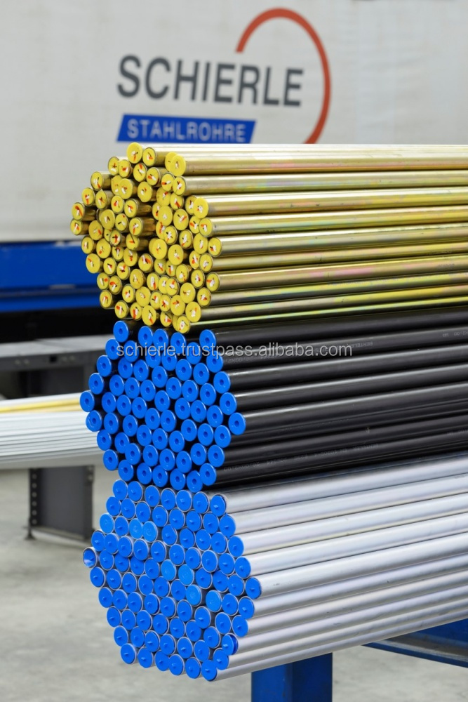 Hydraulic line tubes, seamless, cold drawn, eddy current tested, outside blue galvanized (Cr-VI-free)