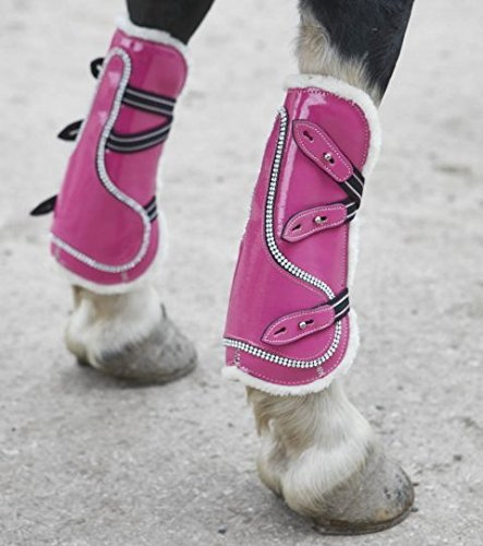 PINK PATENT HORSE ANKLE AND TENDON BOOT SET