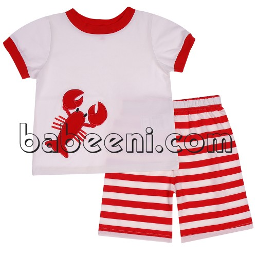 Nice baby boy clothing set in summer clothing with lobster applique