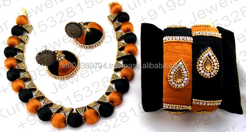 Black Color Handmade Fashion Beaded Chunky Traditional Latest Design Antique Golden Silk Thread Necklace Set With Jhumka Earring
