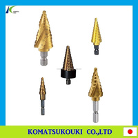 Low-cost Japan TRUSCO cutting tool spiral step drill bit, 2 flute and 3 flute titanium coating with safety stopper