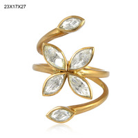 Latest Design 18k Gold Rose Cut Diamond Ring, Women Party Wear Designer Ring Jewelry, Handmade Wholesale Jewelry Supplier