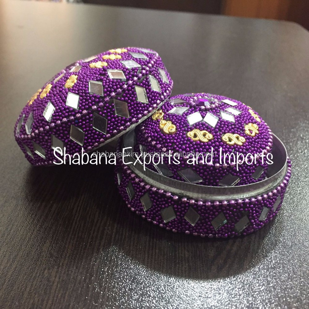 Rajasthani Lac glitter box Jeweled trinket storage boxes small beaded boxes