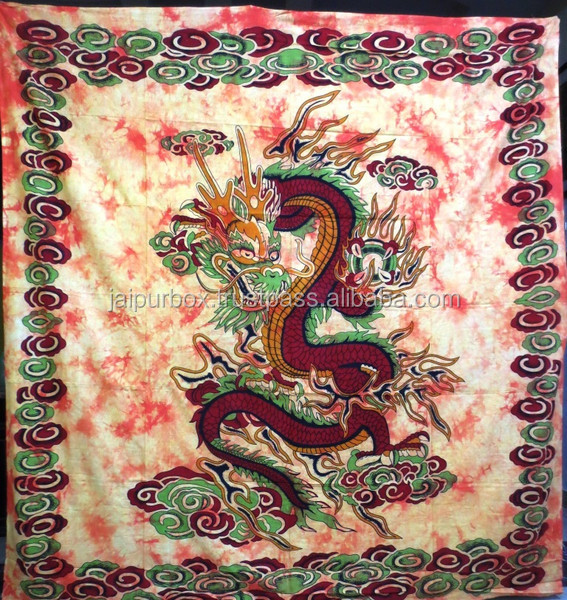 100% Cotton Yellow N Maroon Dragon Tie Dyed Tapestry