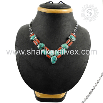 Beautiful coral & turquoise gemstone necklace silver jewelry exporter 925 sterling silver jewellery online