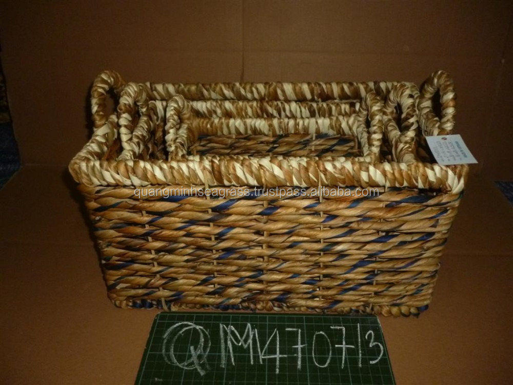 Vietnam supplier water hyacinth food basket natural rattan stationery basket high quality baboo kids' toys basket