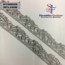 Net tissue fabric embroidered cording lace fabric trimmings Silver color Stone lace 2018
