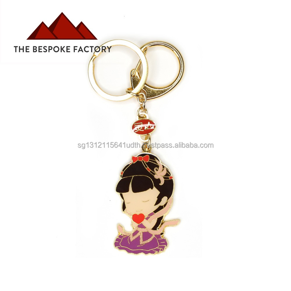 Hard enamel figurine cut custom design metal keychain