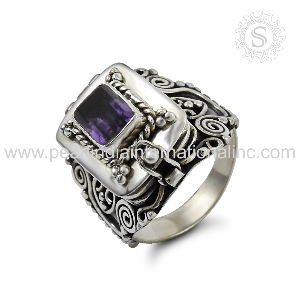 Natural amethyst vintage poison ring natural gemstone silver jewelry 925 sterling silver jewelry boho poison ring