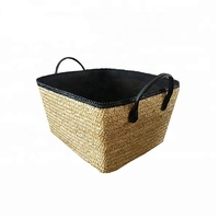 online shopping straw basket black leather handle food storage basket for house