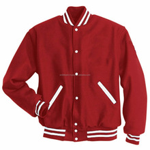 Bloody Red wool With Pu White Leather Custom Varsity Jackets / Sublimation red line Varsity Jackets