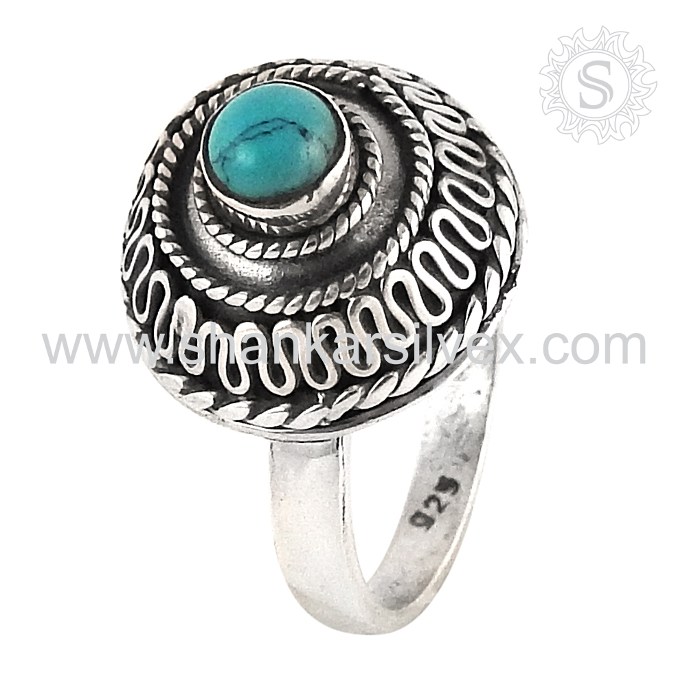 Top sale skyey turquoise gemstone ring jewelry 925 sterling silver ring jewelry exporter