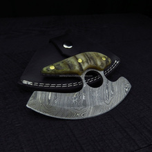 kitchrn knife Damascus Steel with Ram Handle SK-580 < Ulu>