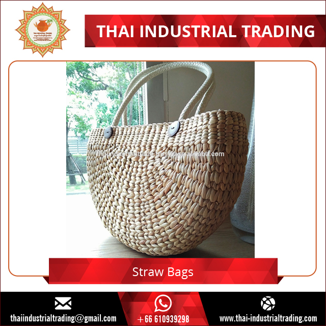Thai Fashion Design Large Straw Beach Bag Women Bag Handbag