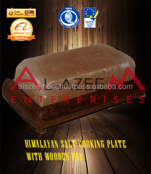 Himlayan Cooking Plates With Wooden Pan Crystal Rock Salt
