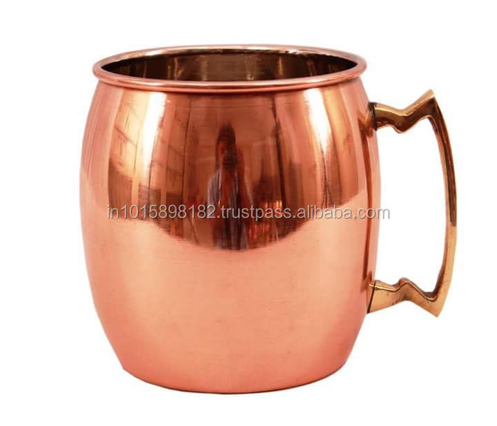2017 BPA FREE 100% PURE COPPER BARREL PLAIN MOSCOW MULE DRINKING MUG WITH ZIG ZAG BRASS HANDLE