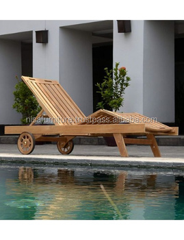 Wooden Beach Sun Lounger Chairs Solid Teak Wood Outdoor Garden Furniture