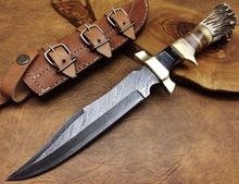 CUSTOM HAND FORGED Unique DAMASCUS HUNTING KNIFE SK-094
