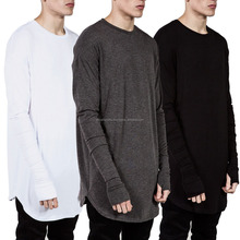 100% Cotton Longline Curve Hem Long Sleeves Men T Shirt With Thumb Hole