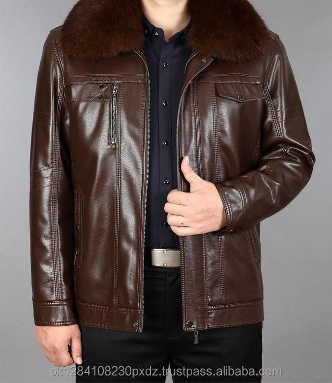 New Winter Men Leather Fur Collar Jacket In Middle-aged And Velvet With Thick leather