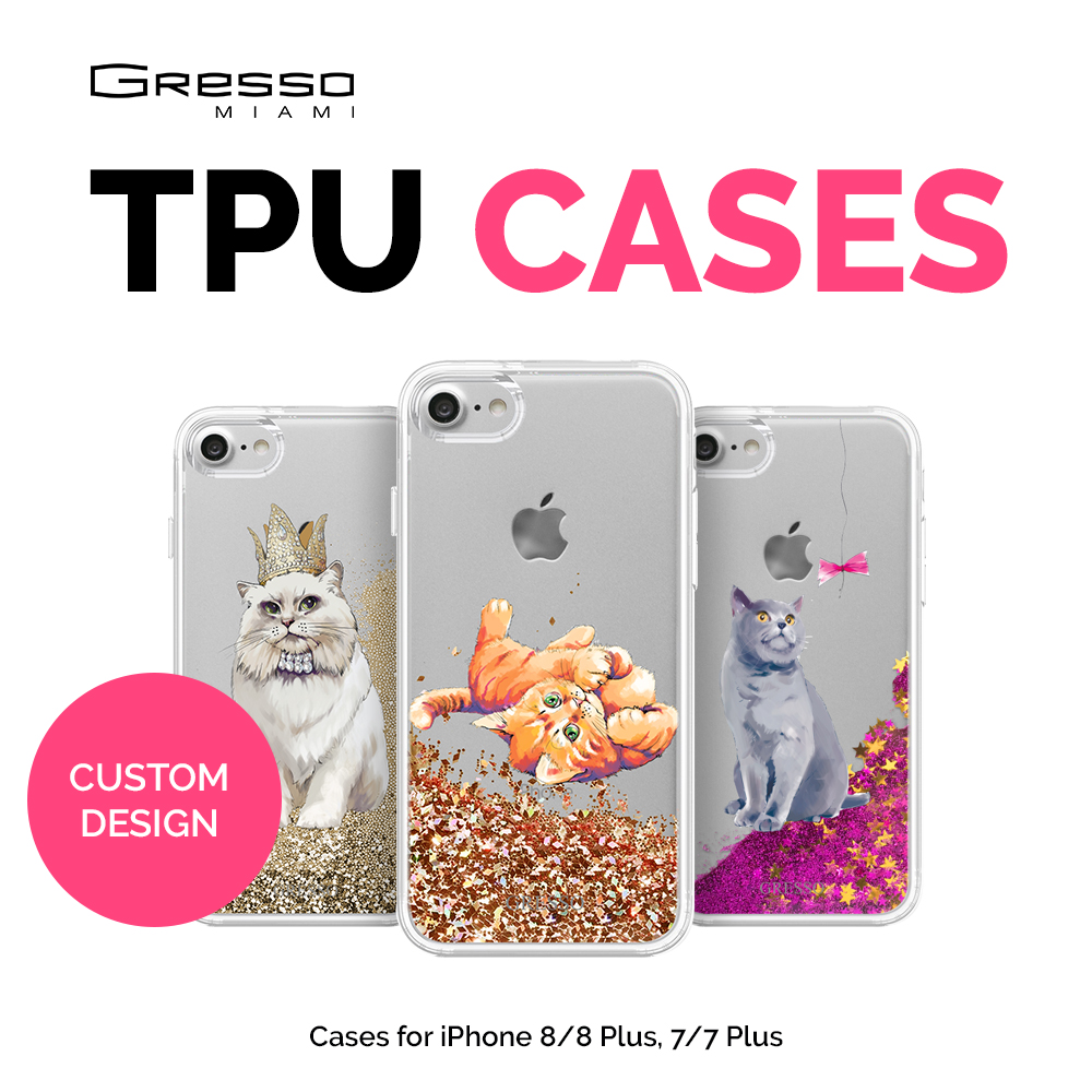 2017 Fashion Transparent TPU Wallet Case for iPhone 8 7 6s 6 Plus with Cats Design Printing and Liquid Glitter Wholesale OEM