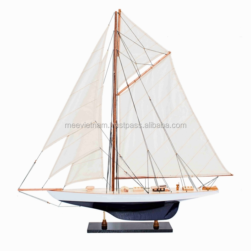 DEFENDER SAILBOAT MODEL- HIGH QUALITY HANDICRAFT WOOD MODEL SHIP FOR HOME DECORATION
